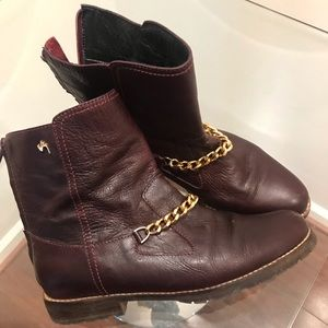 Italian Leather Gold Chain Boots 38 8